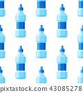 Water plastic bottle vector transparent mineral beverage blank refreshment seamless pattern 43085278