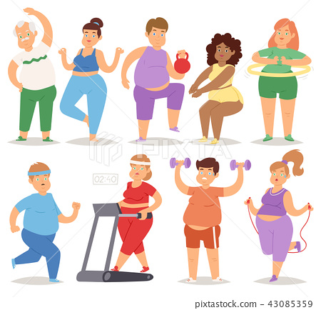 Fat people doing exercise training gym gymnasium sport fatty food rich character workout vector 43085359