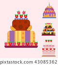 Wedding cake pie hand drawn style sweets dessert bakery ceremony delicious vector illustration. 43085362