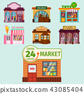 Vector flat design restaurant shops facade storefront market building architecture showcase window 43085404