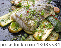cod fish fillet with vegetable and potatoes 43085584