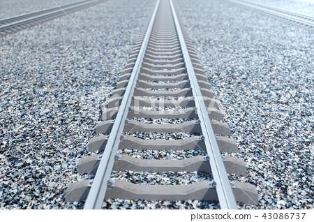 Railroad or railway, steel railway for trains. Railroad travel, railway tourism. Transportation 43086737