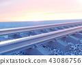 Railroad or railway, steel railway for trains. Railroad travel, railway tourism. Transportation 43086756
