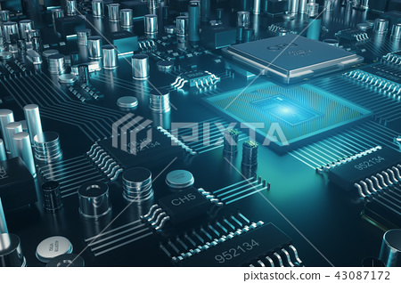 Circuit board. Technology background. Central Computer Processors CPU concept. Motherboard digital 43087172