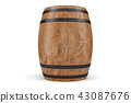 3D Illustration wooden barrels front view, wine isolated on white background. Alcoholic drink in 43087676