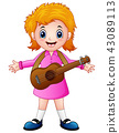 Cartoon girl with a guitar 43089113