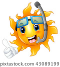 Sun character in diving mask giving thumbs up 43089199
