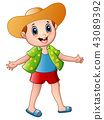 Happy boy cartoon with summer clothes and a hat 43089392