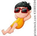 Cartoon boy relaxing wearing sunglasses 43089394