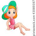 Beautiful little girl in hat sitting 43089397