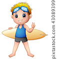 Cartoon boy with a surfboard 43089399