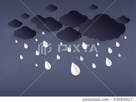 Rainy fall and clouds background. Paper art style 43089927