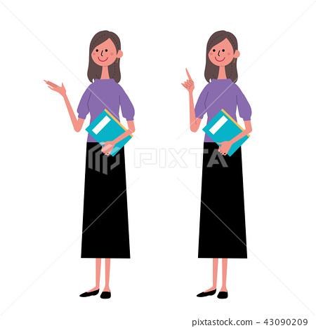 婦女的姿態與書的全長例證 43090209