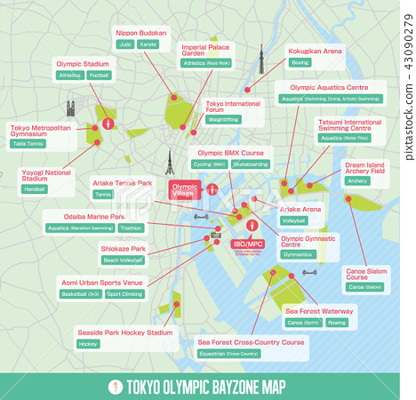 Tokyo Olympic Games 2020 Bay Area Venue Map Stock Illustration 43090279 Pixta