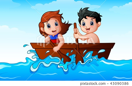 Children rowing a boat in the ocean 43090386