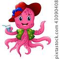 Cartoon octopus in summer hat 43090408