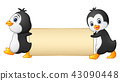 Two penguins cartoon holding a blank banner 43090448