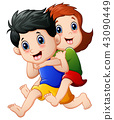 Illustration of Happy children cartoon running 43090449
