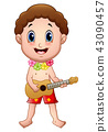 Illustration of Hawaiian boy playing a guitar 43090457