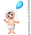 Baby boy waving with holding a balloon 43090460