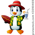 Cartoon penguin with cocktail drink and surfboard 43090469
