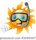 Happy cartoon sun in diving mask giving thumbs up 43090507