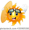 Happy cartoon sun character with surfboard 43090508