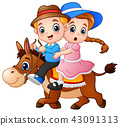 Cartoon boy and girl riding a horse 43091313