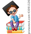 Graduation boy sitting on piles of books 43091326