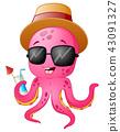 Illustration of Funny cartoon octopus summertime 43091327