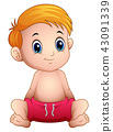 Vector illustration of Cute little boy sitting 43091339