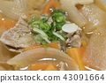 Miso soup with pork and vegetables 43091664