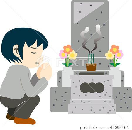 Grave visit to a grave Obon sons men 43092464