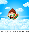 Alone skydiver is in the free fall 43093336