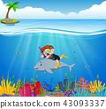 Cartoon boy diving in the sea with dolphin 43093337