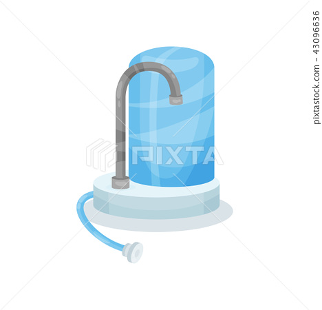 Flat vector icon of water filter with metal faucet. Modern kitchen device for filtering water 43096636