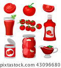 Flat vector set of tomato food and drinks. Healthy juice, ketchup and sauce, canned products 43096680