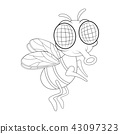 fly cartoon character vector design isolated 43097323