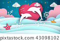 Cartoon sea landscape. Dolphin illustration. 43098102