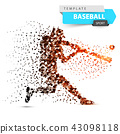 Baseball player - color dot illustration. 43098118