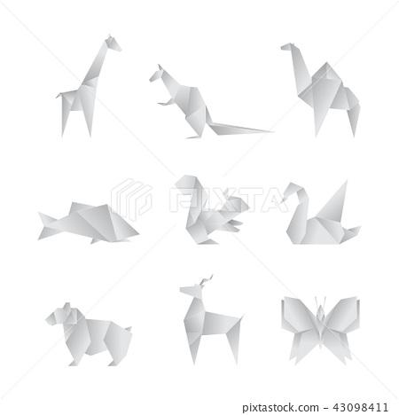 Cartoongefaltete Art White Paper Schriftart 3d Origamibuchstaben ... | 468x450