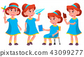 Girl Kindergarten Kid Poses Set Vector. Little Children. Happiness Enjoyment. For Web, Brochure 43099277