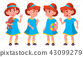Girl Kindergarten Kid Poses Set Vector. Kiddy, Child Expression. Junior. For Postcard, Cover 43099279