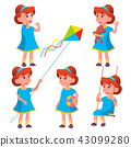 Girl Kindergarten Kid Poses Set Vector. Character Playing. Childish. Casual Clothe. For Presentation 43099280
