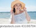 여자 여행 밀짚 모자 숙녀 43100704