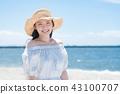 หญิงสาวกำลังเดินทางหมวกฟาง 43100707