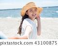 여름 데이트 밀짚 모자 숙녀 43100875