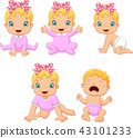 Cartoon little baby girl in different expressions 43101233