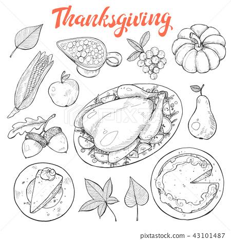 thanksgiving sketches vector 43101487