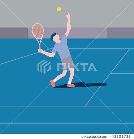 Flat design tennis player serving vector 43101731